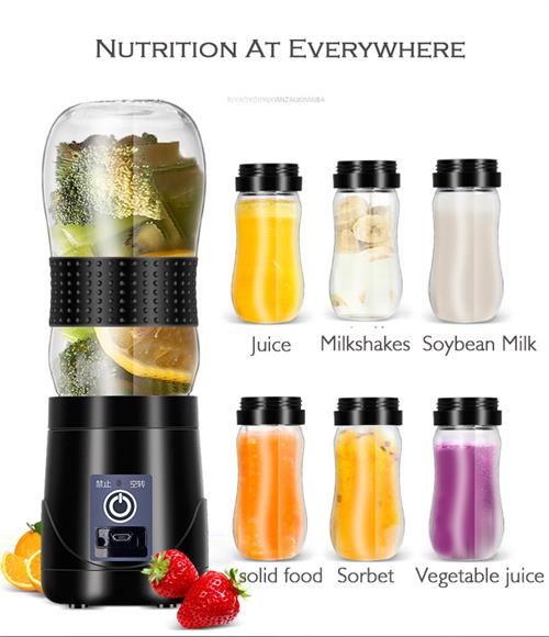 380ml 7.4V rechargeable 4 blades powerful portable electric juice jar