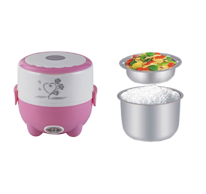 portable 2 layors electrical stainless steel lunch box for food steaming